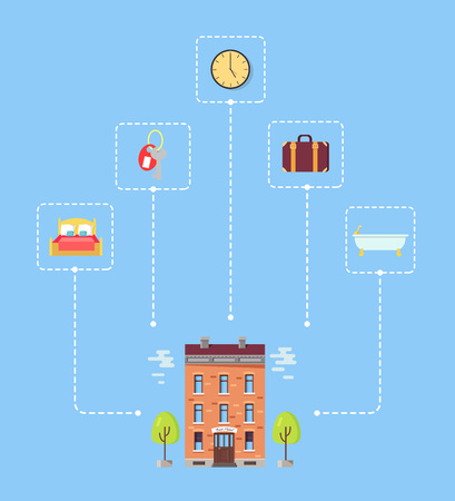 Set of Icons above Hotel with Trees Illustration Illustration