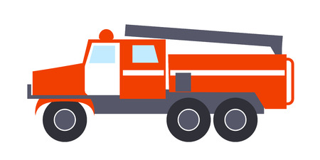 Fire engine with Ladder Isolated Illustration