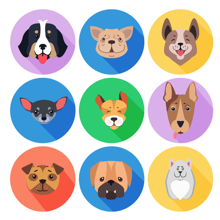 Concept of Purebred Dogs on Colored Circle Icons