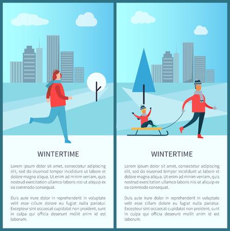 Wintertime Family Running Man Vector Illustration