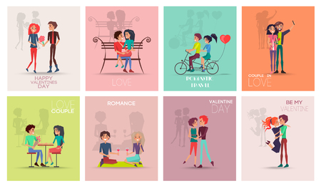 Happy Valentines Day Posters Vector Illustration