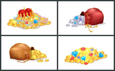 Trésor ensemble d'affiches, sacs avec crâne de symbole pirate et os et pièces d'or, argent et diamant avec perles, illustration vectorielle Couronne Banque d'images - 93600681