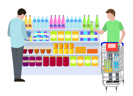 Supermarket, Shopping People Vector Illustration Иллюстрация