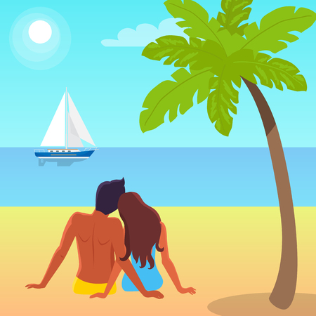 Couple Sits on Sand and Looks at Sailboat on Water Illustration