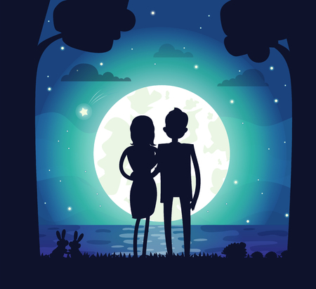 Silhouette of Man and Woman watching the moon Vector Illustration