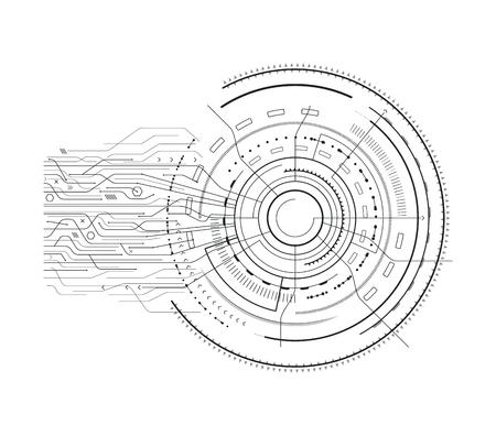 Interface Set Sci-fi Sketch Vector Illustration.