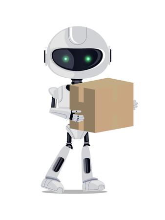 Robot debout avec colis illustration vectorielle Banque d'images - 93600698