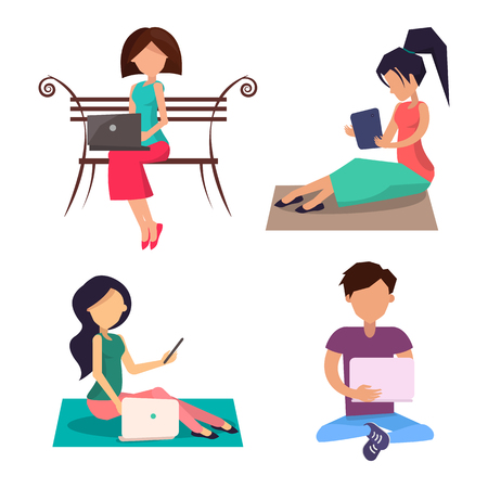 Modern People with Devices Sit on Wooden Bench Set Illustration