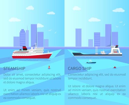 Groot stoomschip en ruim vrachtschip op water Stock Illustratie