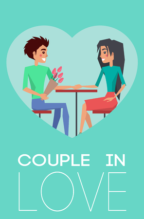 Couple in Love Heart Poster Vector Illustration