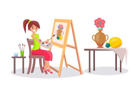 花瓶と果物の静物画を描く少女