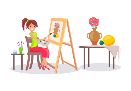 Mädchen, das Stillleben-Bild des Vase und der Früchte zeichnet