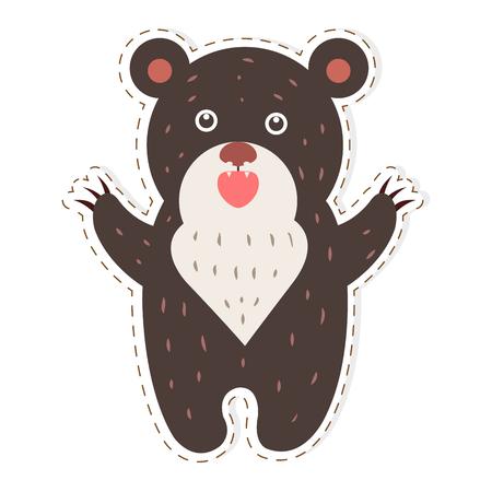 Cute Bear Cartoon Flat Vector Sticker or Icon Illusztráció