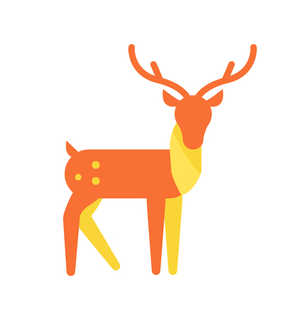 Deer Animal Icon, Horned Reindeer in Orange Color