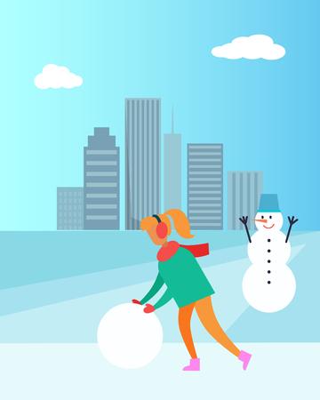 Woman in Earphones Make Snowman with Bucket Vector