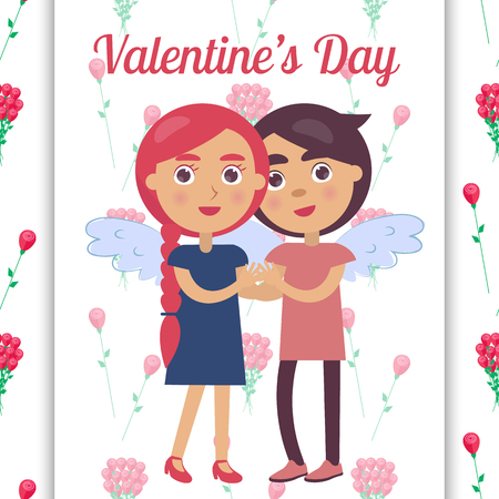 Valentines day poster with young lovers tenderly hold each other s hands gently smiling. Ilustração