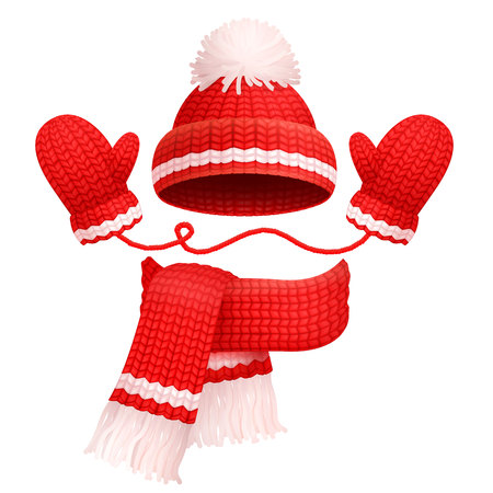Hat with pompom and scarf with mittens of red color, traditional winter set, warm clothes, vector illustration, isolated on white background Reklamní fotografie - 93554034