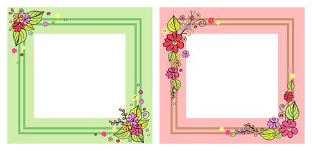 Set of photo frames in pink and green colors, with decorative floral elements in corners, with natural flower bouquets vector isolated on white background. Illustration