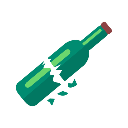 Broken Bottle of Beer Isolated Illustration