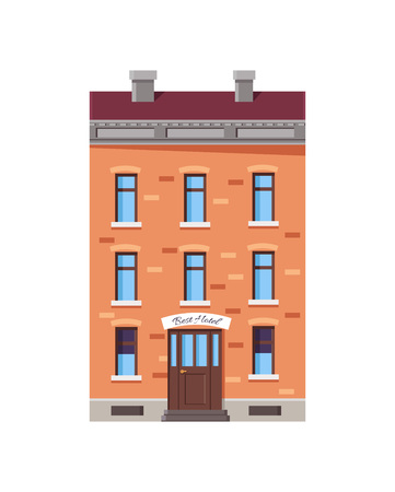 Image of Best Hotel with Roof Vector Illustration