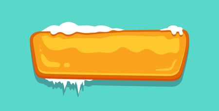 オレンジブランク冬ボタンベクトルイラスト