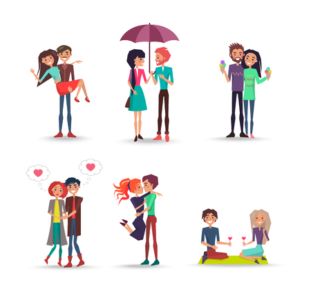 Cheerful Six Pair of Lovers on White Background Illustration