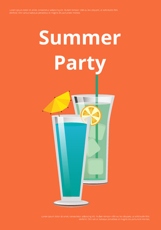 Summer Party Poster with Mojito and Mint Cocktail