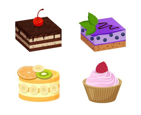 Four Sweet Dessert Posters Vector Illustration Ilustração