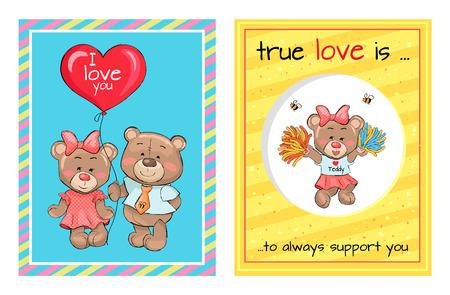 True Love is Support Teddy Girl Bears Air Balloon
