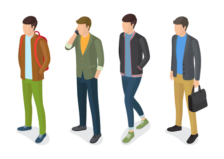 Stylish men models in fashionable apparels, jackets and trousers vector illustrations isolated on white.