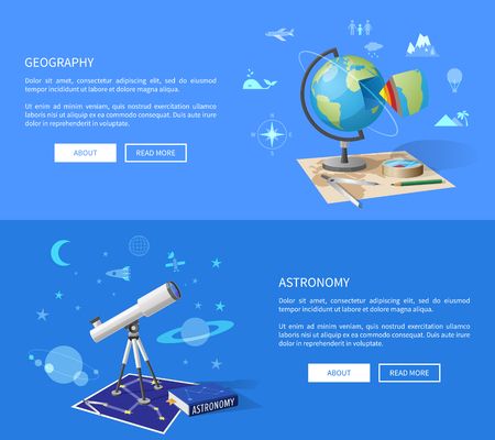 Geography and astronomy classes informative Internet page with globe model, world and starry sky maps, and powerful telescope vector illustrations. Çizim
