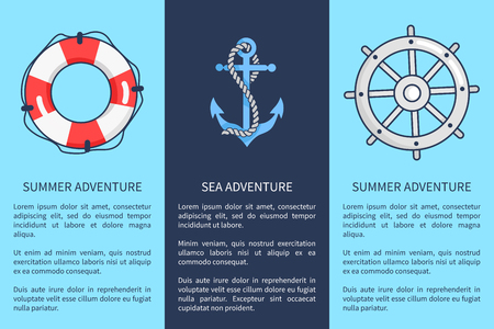 Set of advertising posters devoted to sea and summer adventures. Vector illustration of icons depicting lifebuoy, anchor and sailors wheel Illusztráció