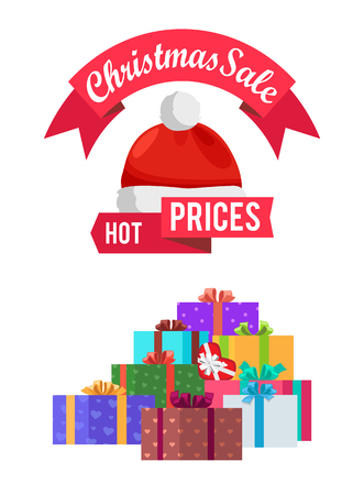 Hot prices Christmas sale gift card with emblem decorated by Santa hat, packed presents for buyers, vector discount voucher with gifts isolated on white