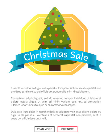 Christmas sale picture with pretty New Year tree vector illustration with ad text on glossy blue ribbon isolated on light yellow pattern push-buttons