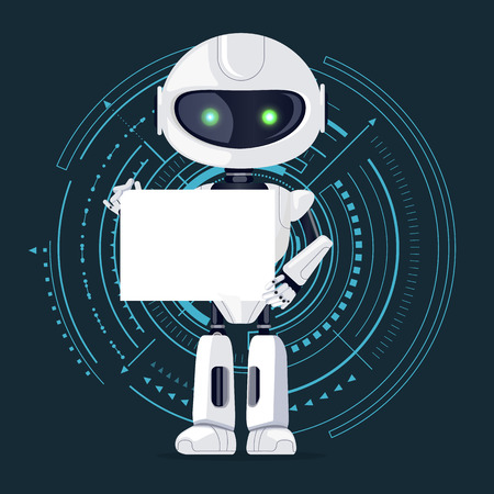 Robot and Sheet of Paper, Vector Illustration Illustration