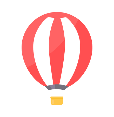 Striped Air balloon with Basket Vector Illustration