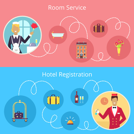 Room Service and Hotel Registration Vector Poster  イラスト・ベクター素材