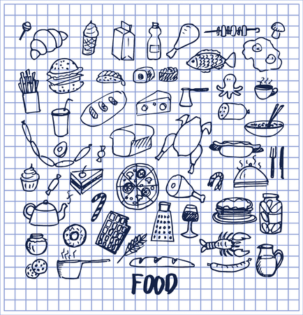 Many Food Pictures Hand Drawn Vector Illustration