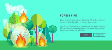 荒れ狂う山火事の森林火災ウェブポスター。茂みで激しく燃える森のベクトルイラスト。
