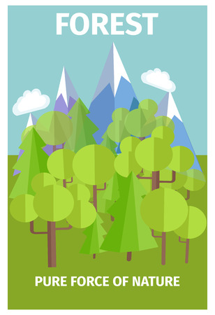 Forest pure source of nature. Poster depicts beauty and importance of environment protection.