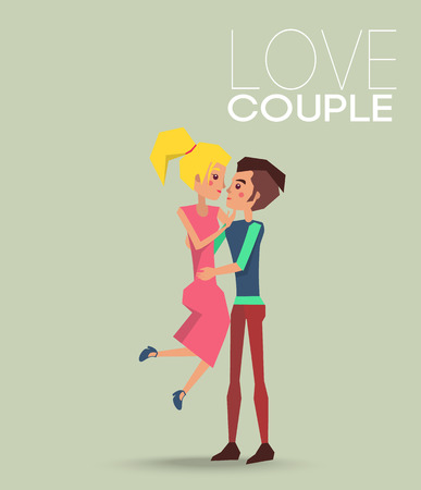 Love couple dating boyfriend and girlfriend, male holding female on arms hugging and kissing vector illustration. Illustration