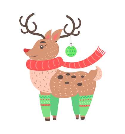 Little cute deer icon isolated on white background. Vector illustration with beautiful animal dressed in scarf, socks with Christmas decoration on horn