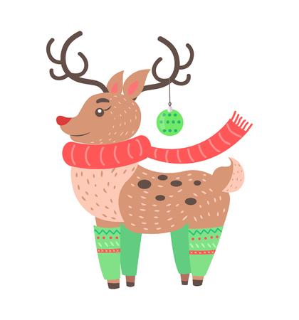 Petit icône mignonne cerfs isolé sur fond blanc. illustration vectorielle avec d & # 39 ; autres animaux habillés dans des chaussettes de noël avec une décoration de lapin sur la corne Banque d'images - 93556323