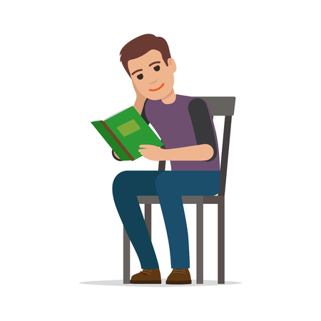 Student Seating and Reading Textbook Flat Vector Illustration