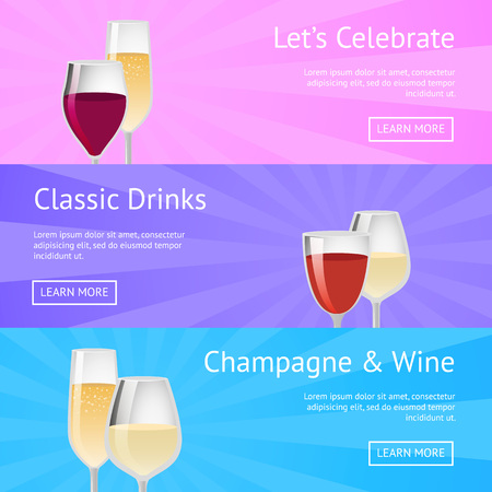 Let s celebrate classic drinks champagne and wine icons with alcoholic beverages in beautiful decorated glasses. Illustration