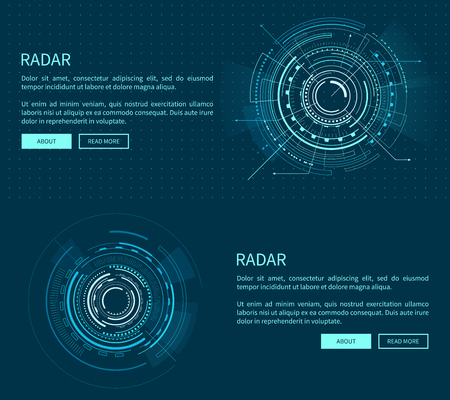 Radar layout with many figures vector illustration with two geometric patterns of sphere, text sample, push-buttons isolated on dark blue background
