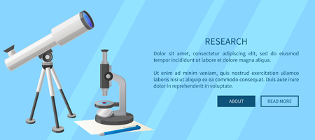 Research web banner with modern refractor telescope with steel tripod and microscope with small purple object on stage isolated vector illustrations 向量圖像