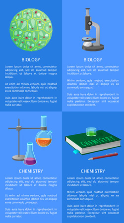 Chemistry and biology posters set with green molecule, microscope tool, flasks holder and book with pen vector illustrations with text on blue Illustration