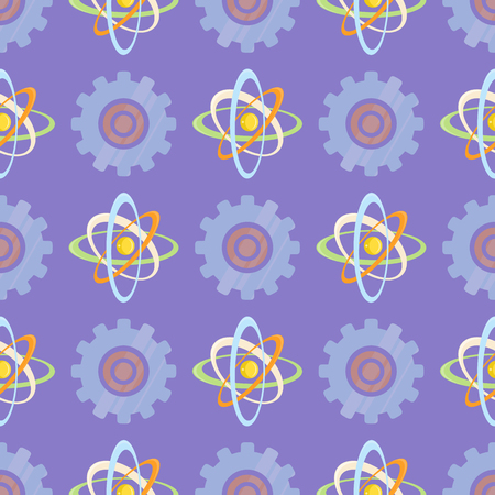 Seamless pattern with science themed atomic model and mechanical gear. Molecule scheme of rotating elements vector illustration.