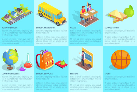 School-related collection of posters with text. Isolated vector illustration of transport, lunch meal, learning process, supplies and other objects Illustration